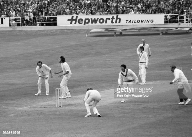 Wasim Bari of Pakistan survives a runout attempt during the 1st Test match between England and Pakistan at Headingley Leeds 25th July 1974 The...