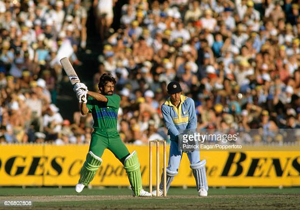Wasim Raja batting for Pakistan during the Benson and Hedges World Championship of Cricket Final between India and Pakistan at the MCG, Melbourne,...