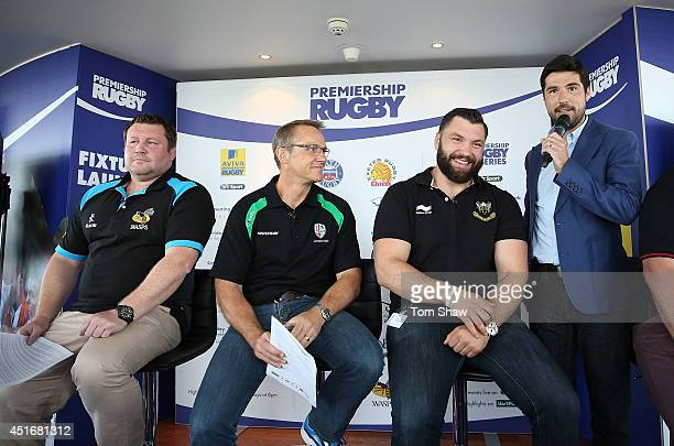 Wasps coach Dai Young London Irish Director of Rugby Brian Smith and Alex Corbisiero of Northampton Saints are seen during the launch of the...