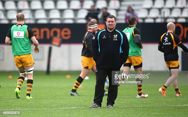 Wasps director of rugby Dai Young looks on during the warm up during the European Rugby Champions Cup Playoff match between Stade Francais Paris and...