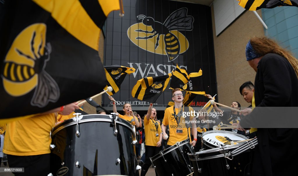 Wasps fans get into the party spirit prior to the Aviva Premiership match between Wasps and Bath Rugby at The Ricoh Arena on October 1, 2017 in Coventry, England.