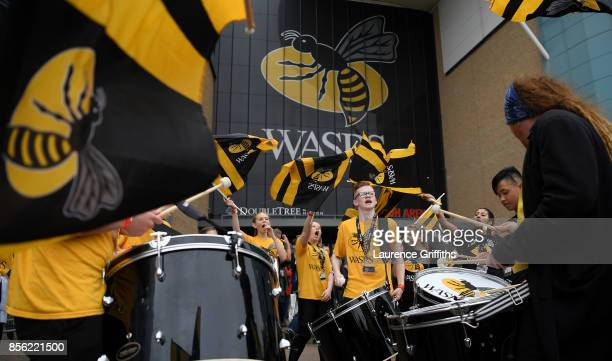 Wasps fans get into the party spirit prior to the Aviva Premiership match between Wasps and Bath Rugby at The Ricoh Arena on October 1 2017 in...