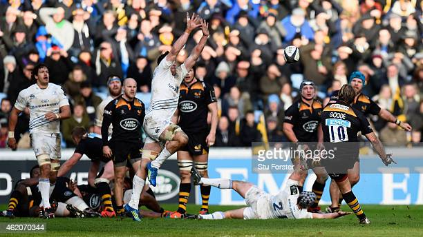 Wasps fly half Andy Goode attempts and misses a last second drop goal during the European Rugby Champions Cup match between Wasps and Leinster Rugby...
