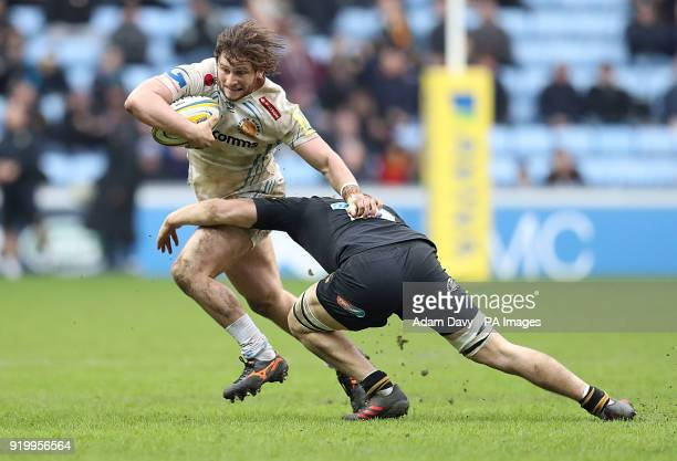 Wasps' Jack Willis tackles Exeter Chiefs' Alec Hepburn during the Aviva Premiership match at the Ricoh Arena Coventry