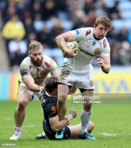 Wasps' Josh Bassett tackles Exeter Chiefs' Lachie Turner during the Aviva Premiership match at the Ricoh Arena Coventry