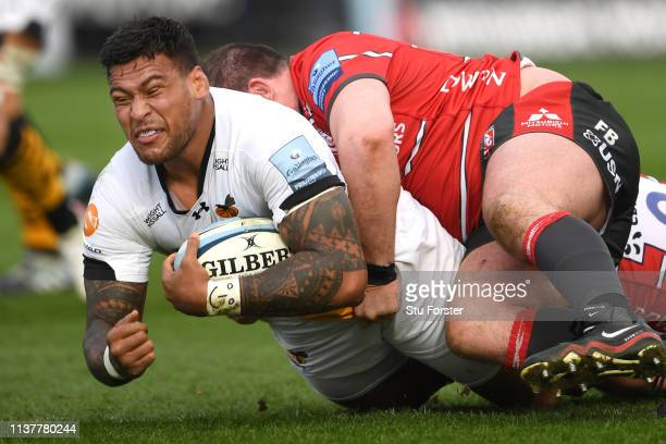 Wasps player Nathan Hughes runs through the Gloucester defence during the Gallagher Premiership Rugby match between Gloucester Rugby and Wasps at...