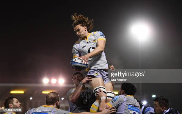 Wasps player Theo Vukasinovic wins a lineout ball during the Gallagher Premiership Rugby match between Newcastle Falcons and Wasps at Kingston Park...