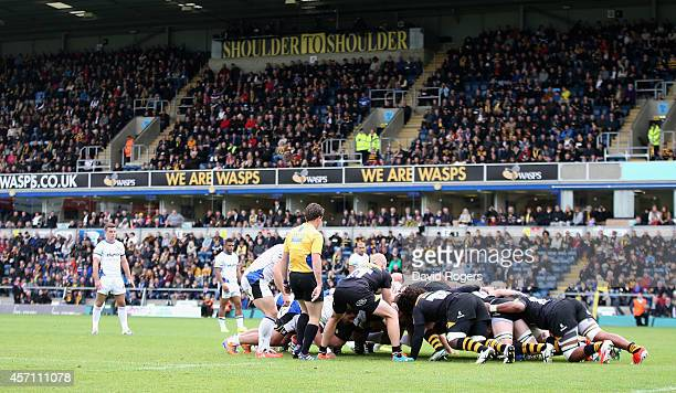 Wasps scrummage in their first match after the announcement of their move to Coventry during the Aviva Premiership match between Wasps and Bath at...