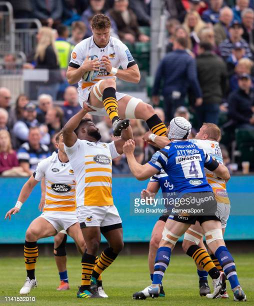 Wasps' Will Rowlands in action during the Gallagher Premiership Rugby match between Bath Rugby and Wasps at Recreation Ground on May 5 2019 in Bath...