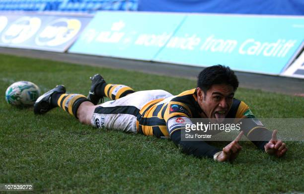 Wasps winger David Lemi celebrates after scoring during the Heineken Cup Round Three match between Newport Gwent Dragons and London Wasps at Cardiff...