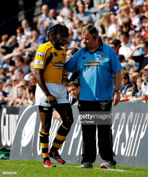 Wasps winger Paul Sackey is helped off the pitch after suffering an injury during the Guinness Premiership match between Bristol and Wasps at The...