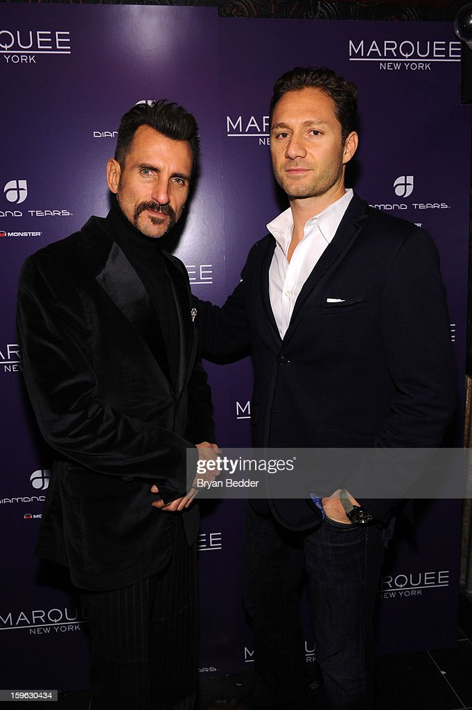 Wass Stevens (L) and co-founder of Marquee Jason Strauss attend the grand opening of Marquee New York on January 16, 2013 in New York City.