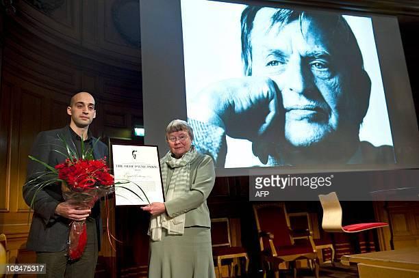 Wassem ElSarraj representing his father Palestinian psychiatrist Eyad ElSarraj on January 28 2011 in Stockholm who received the 2010 Olof Palme Prize...