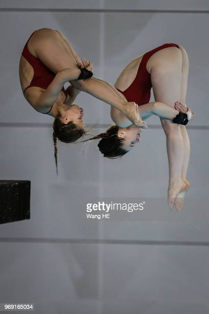 Wassen Elena and Kurjo Maria of Germany compete in the women's 10m Synchro Springboard final on FINA Diving World Cup 2018 at the Wuhan Sports Center...