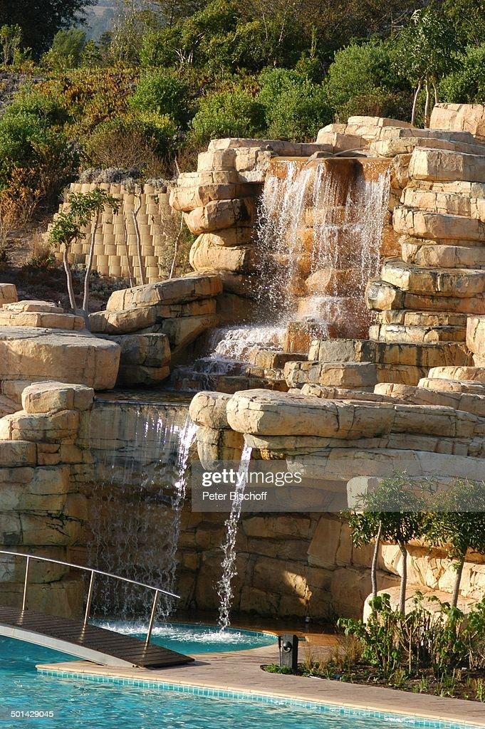 Wasserfall Und Pool, U0027The Western Cape Hotel Spau0027, Kleinmond Bei Kapstadt,