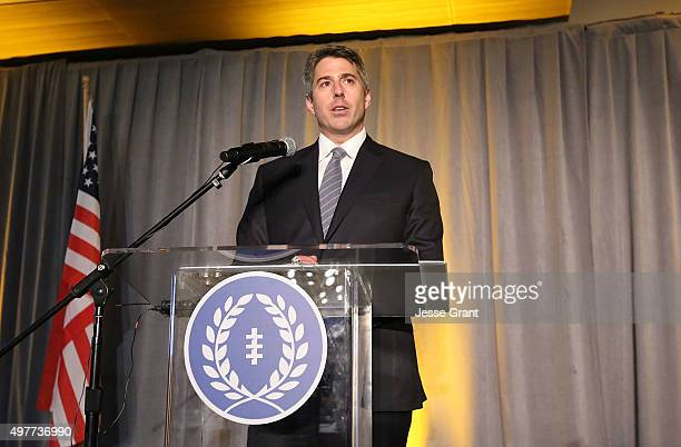 Wasserman Media Group CEO Casey Wasserman is honored during the National Football Foundation Leadership Hall of Fame Luncheon at UCLA's Pauley...
