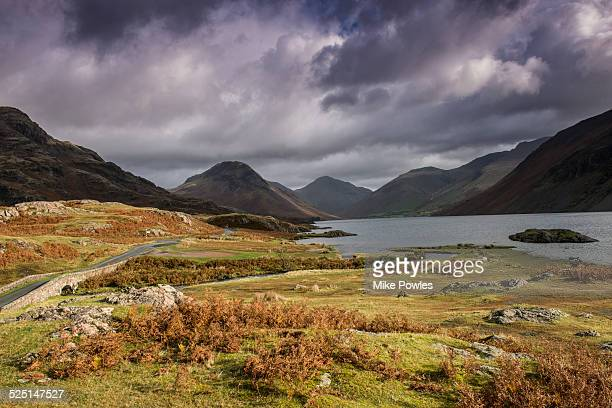 wast water under stormy sky, uk - cumbria stock pictures, royalty-free photos & images