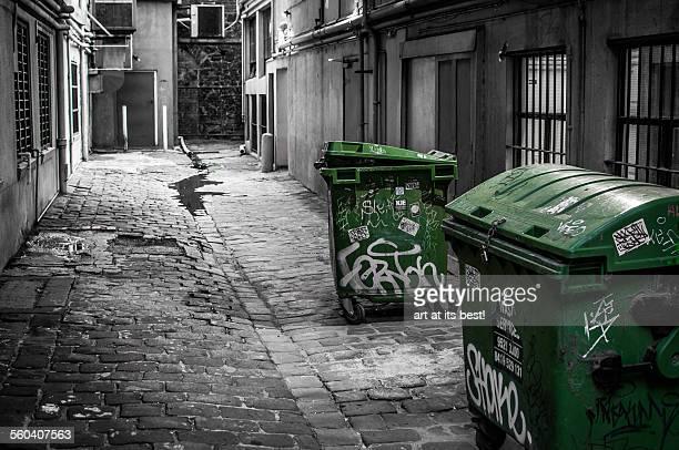 Waste bins in an alley