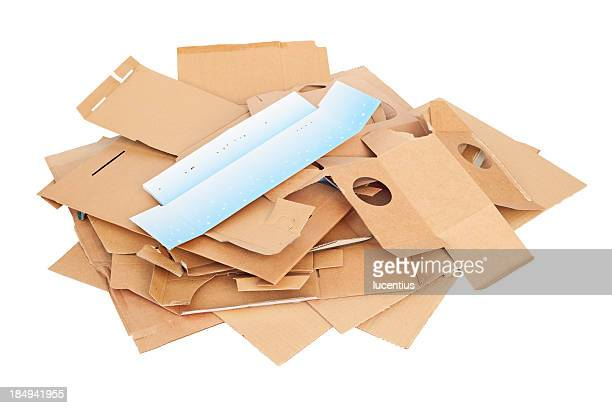 Waste cardboard for recycling isolated on white