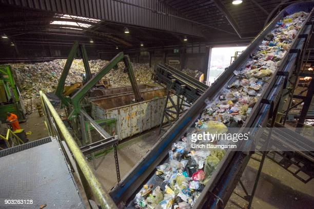 Waste disposal and processing of rubbish at the ENG disposal Niederrhein mbH in Krefeld Conveyor belt for plastic waste