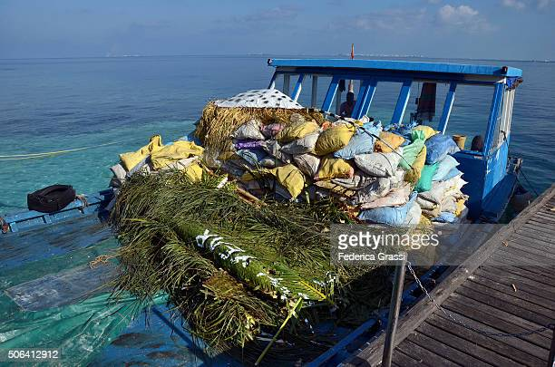 waste disposal at the maldives - incinerator stock photos and pictures