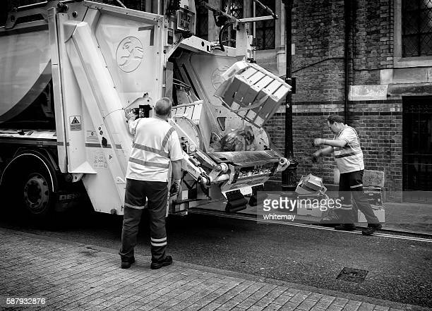 waste disposal men and truck, london - garbage truck stock pictures, royalty-free photos & images