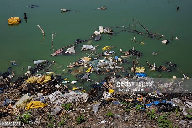Waste floating in a river on September 28 2015 in Beira Mozambik