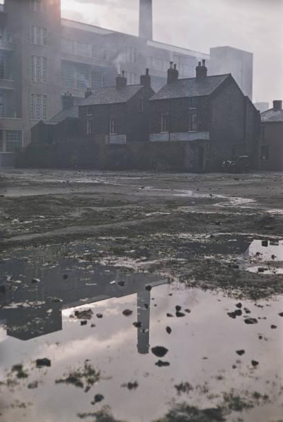 Waste ground behind houses in Belfast, Northern Ireland,...
