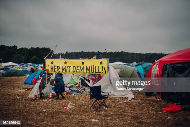 Waste is collected at the campsite during the second day of the Hurricane festival on June 23 2018 in Scheessel Germany