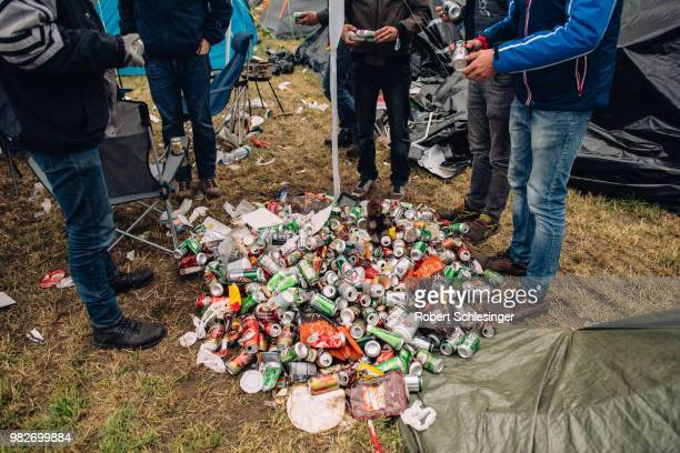 Waste is collected at the campsite during the third day of the Hurricane festival on June 24 2018 in Scheessel Germany