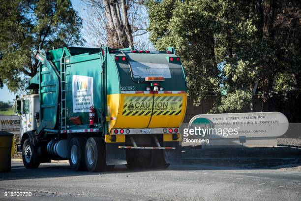 A Waste Management Inc garbage collection truck enters the company's Davis Street Recycling Transfer Station in San Leandro California US on Monday...