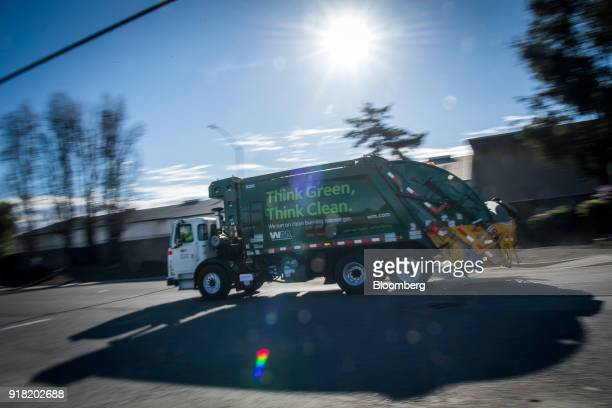 A Waste Management Inc garbage collection truck leaves the company's Davis Street Recycling Transfer Station in San Leandro California US on Monday...