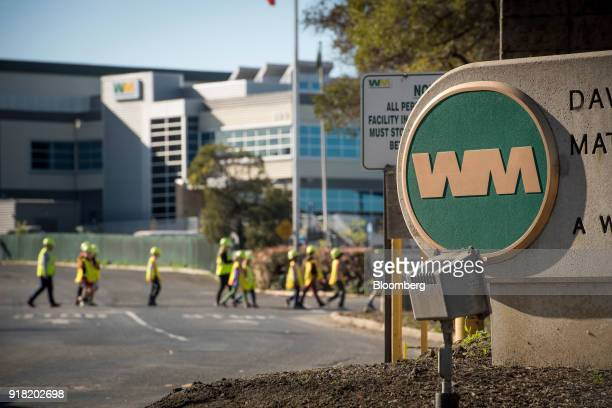 Waste Management Inc signage stands on display outside the company's Davis Street Recycling Transfer Station in San Leandro California US on Monday...