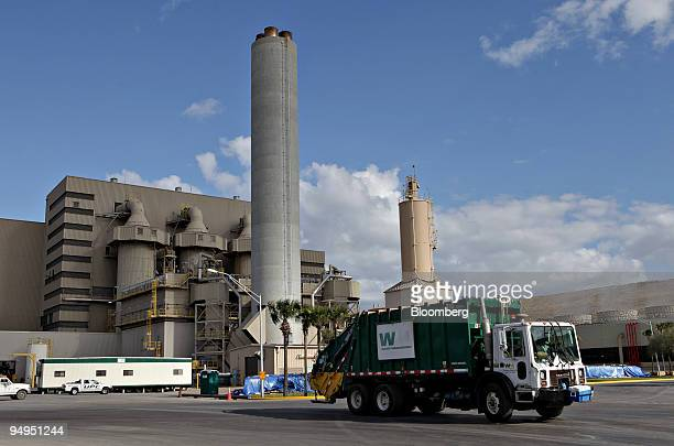 Waste Management truck drives outside the Wheelabrator North Broward wastetoenergy facility in Pompano Beach Florida US on Friday March 6 2009...