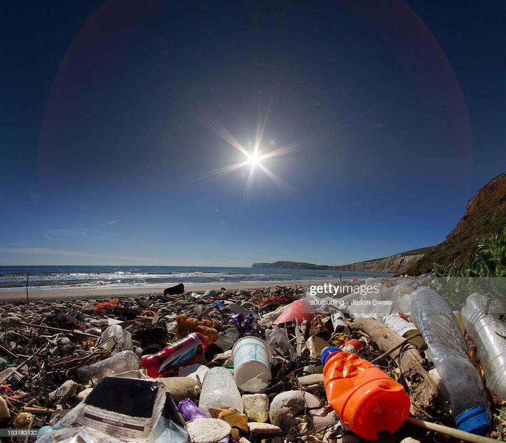 Waste on beach : Stock Photo