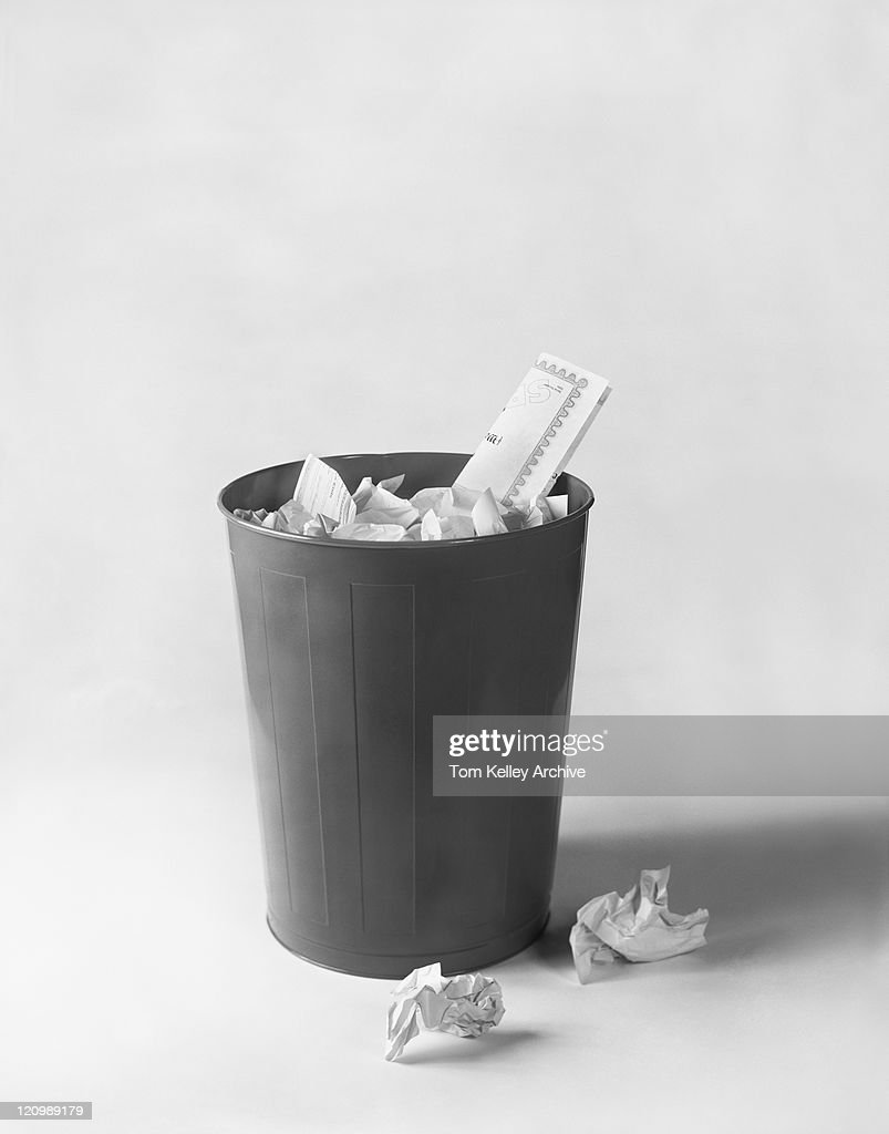 Wastepaper bin on white background : Stock Photo