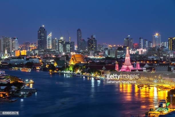 Wat Arun along the Chao Phraya river (Bangkok, Thailand)