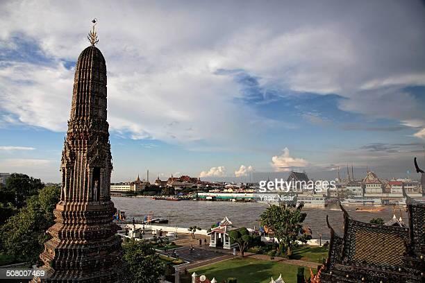 wat arun and bangkok view - yasir nisar stock photos and pictures