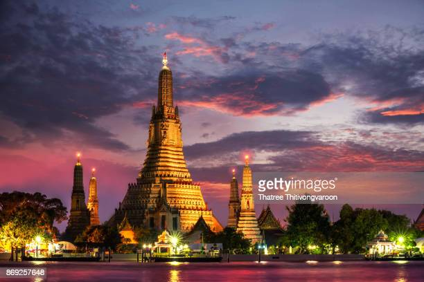 Wat Arun Temple at twilight in bangkok Thailand. Wat Arun is among the best known of Thailand's landmarks