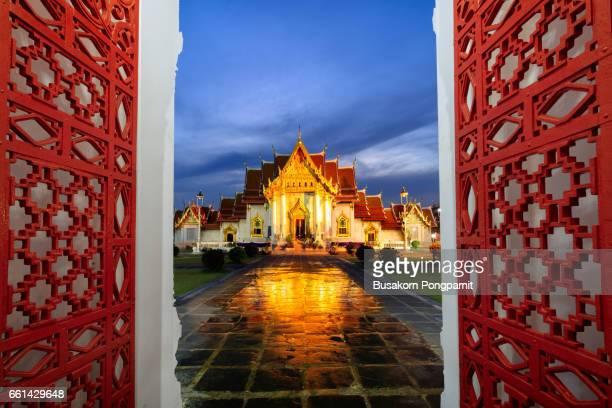 Wat benchamabophit at twilight with reflection, Bangkok Thailand