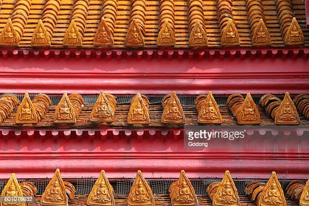 Wat Benchamabophit Detail of roof top Bangkok Thailand