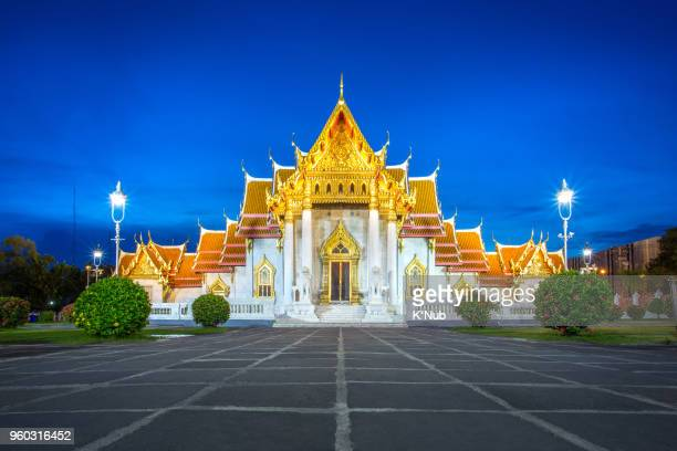 Wat Benchamabopit, buddhist temple, is the popular landmark for travel from tourist in Bangkok Thailand with sunset and twilight and clear blue sky