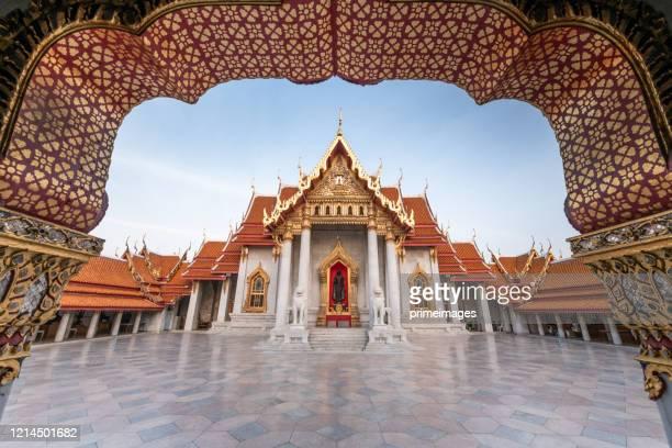 wat benchamabopit dusitvanaram a famous temple in bangkok - bangkok stock pictures, royalty-free photos & images