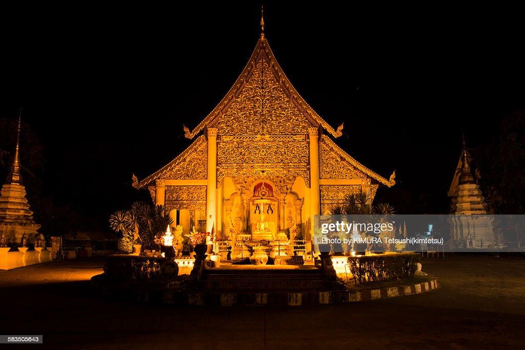 Wat Chedi Luang at Night in Chiang Mai : Stock Photo