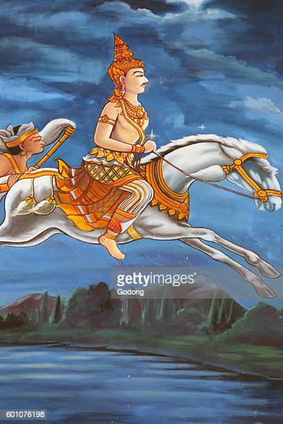 Wat Haysok Painting depicting the life story of Shakyamuni Buddha Buddha leaves his palace at night on his horse Kanthaka followed by his driver...
