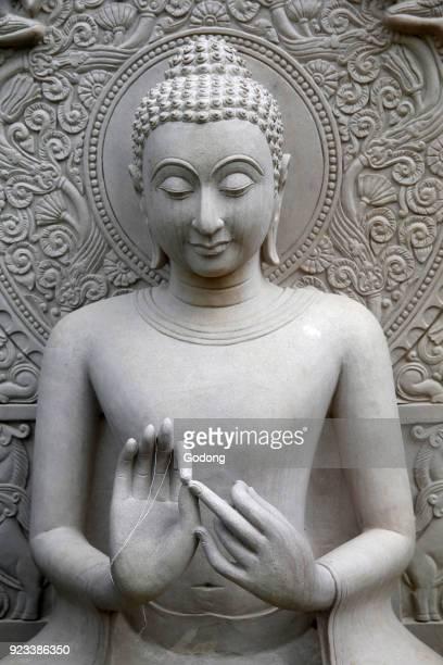 Wat Pan sao Chiang Mai Detail of a Buddha statue Thailand
