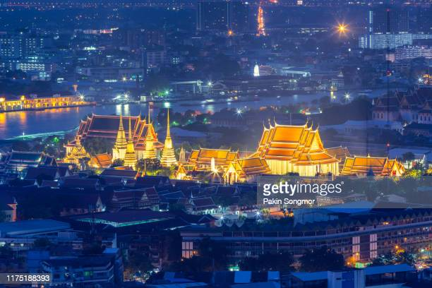 wat pho temple or wat phra chetuphon at dust - grand palace bangkok stock pictures, royalty-free photos & images