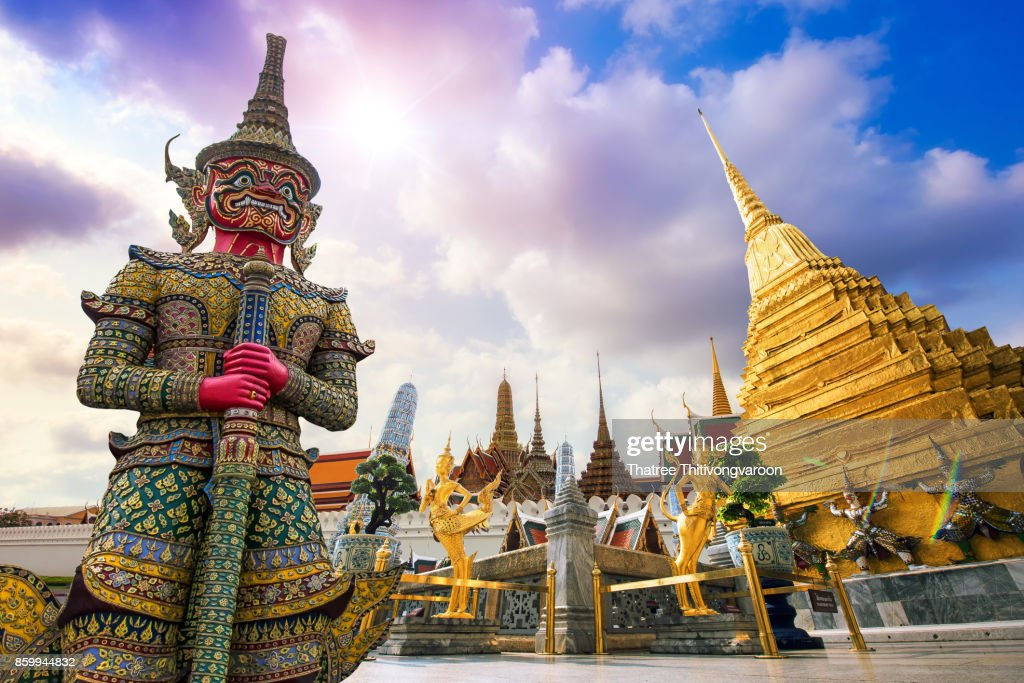 Wat Phra Kaew, Temple of the Emerald Buddha Wat Phra Kaew is one of Bangkok's most famous tourist sites and it was built in 1782 at Bangkok, Thailand : Stock Photo