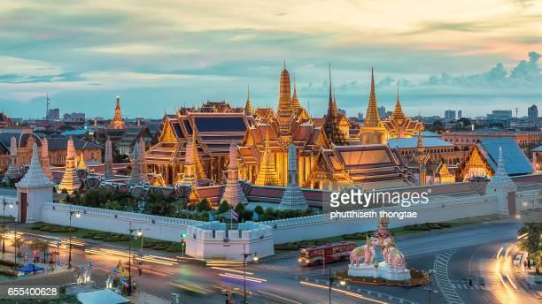 Wat Phra Kaew,Grand palace at twilight in Bangkok, Thailand.