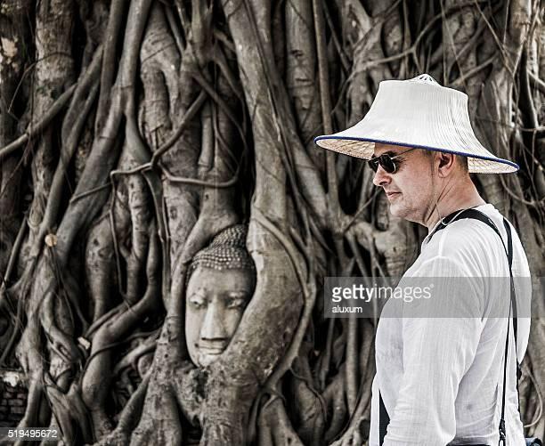 Wat Phra Mahathat Buddha head at Ayutthaya Thailand